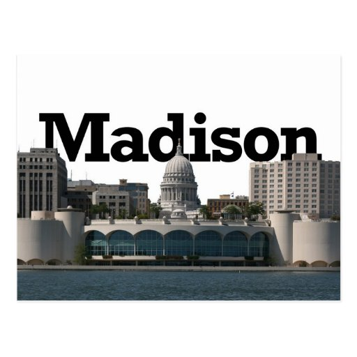 Madison Wisconsin Skyline with Madison in the Sky Post Card