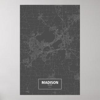 Madison, Wisconsin (white on black) Poster