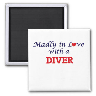 Madly in love with a Diver 2 Inch Square Magnet