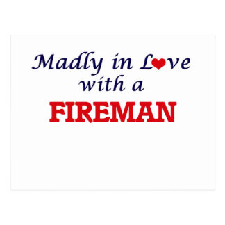 Madly in love with a Fireman Postcard