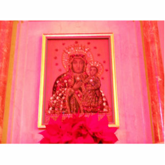 MADONA AND CHILD  IN PINK STATUETTE