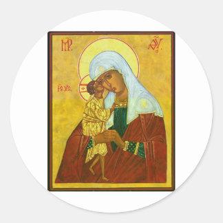 Madona and Child Round Sticker