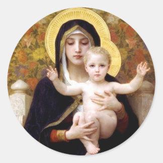Madona con la pintura antigua de Bouguereau de los Pegatina Redonda
