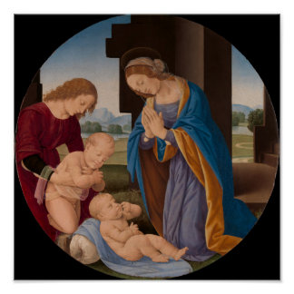 Madonna Adoring the Child with the Infant Saint Poster