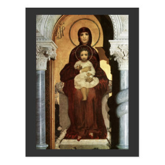 Madonna and Baby Jesus on Throne Postcard