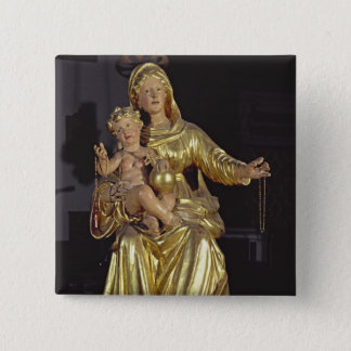 Madonna and Child, 17th century (gilded wood) Pinback Button