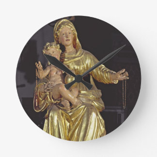 Madonna and Child, 17th century (gilded wood) Round Clock