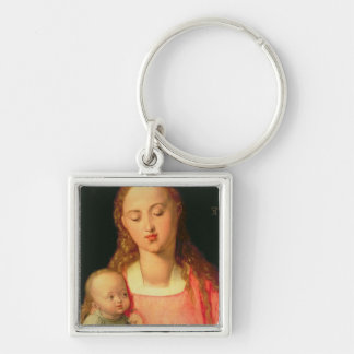 Madonna and Child 2 Silver-Colored Square Keychain