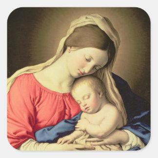 Madonna and Child 3 Square Sticker