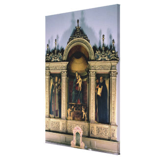Madonna and Child and Saints (triptych altarpiece) Canvas Print