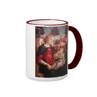 'Madonna and Child and Two Angels' Ringer Coffee Mug