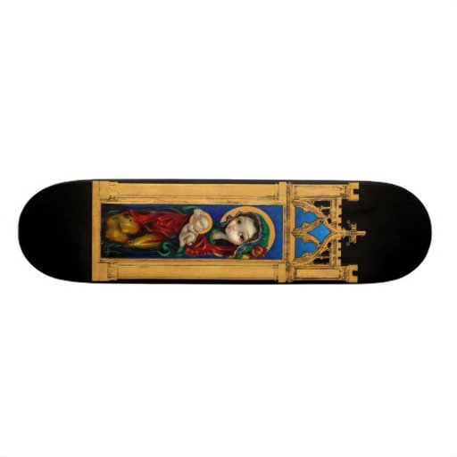 Madonna and Child at Night gothic icon Skateboard