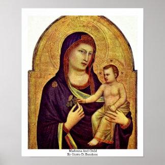 Madonna And Child By Giotto Di Bondone Poster