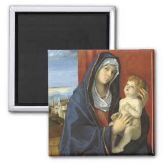 Madonna and Child by Giovanni Bellini 2 Inch Square Magnet