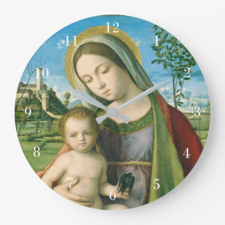 Madonna and Child by Giovanni Bellini Large Clock
