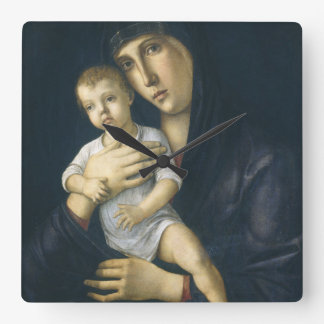Madonna and Child by Giovanni Bellini Square Wall Clock