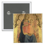 Madonna and Child, central panel of a triptych 2 Inch Square Button