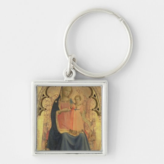 Madonna and Child, central panel of a triptych Keychain