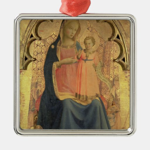 Madonna and Child, central panel of a triptych Square Metal Christmas Ornament