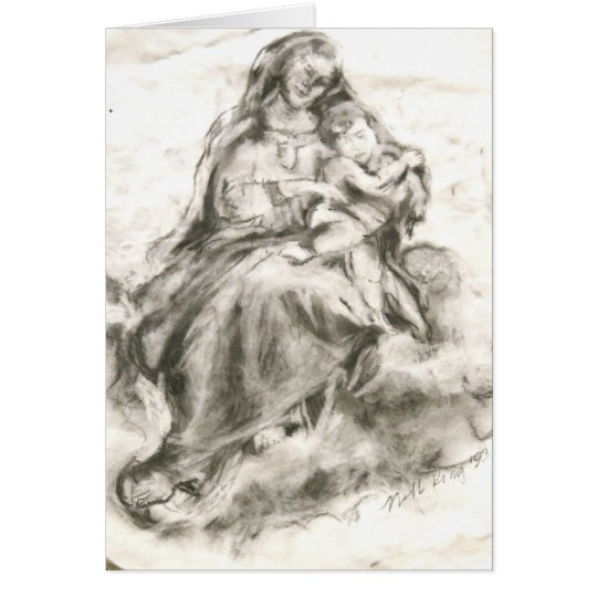 Madonna And Child Charcoal Drawing Card