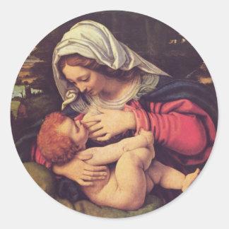 Madonna and Child Classic Round Sticker
