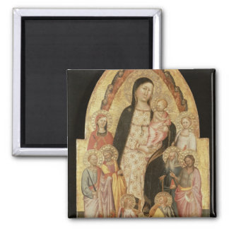 Madonna and Child Enthroned 2 Inch Square Magnet