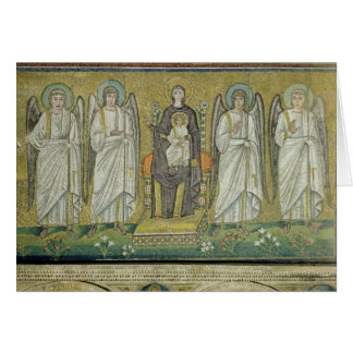 Madonna and Child enthroned by angels Card