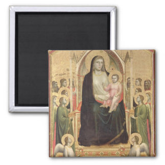 Madonna and Child Enthroned, c.1300-03 (PRE-restor 2 Inch Square Magnet