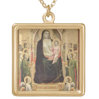Madonna and Child Enthroned, c.1300-03 (PRE-restor Gold Plated Necklace
