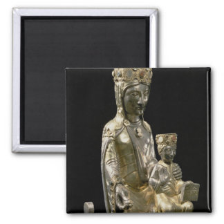 Madonna and Child Enthroned, statuette, French, 12 2 Inch Square Magnet