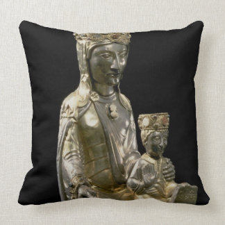 Madonna and Child Enthroned, statuette, French, 12 Throw Pillow