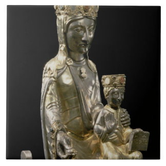 Madonna and Child Enthroned, statuette, French, 12 Tile