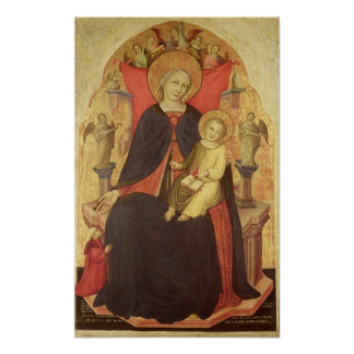 Madonna and Child Enthroned with Donor Vulciano Poster
