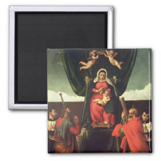 Madonna and Child Enthroned with Four Saints, 1546 2 Inch Square Magnet