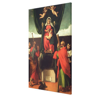 Madonna and Child Enthroned with Four Saints, 1546 Canvas Print