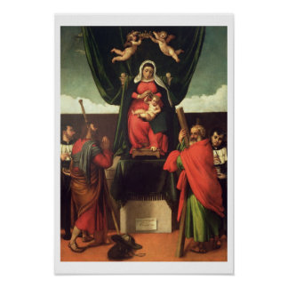 Madonna and Child Enthroned with Four Saints, 1546 Poster