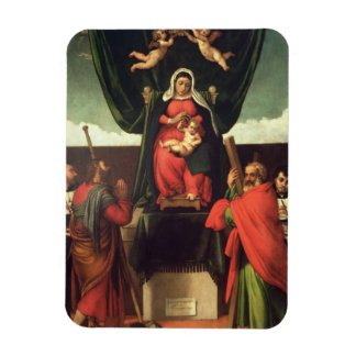 Madonna and Child Enthroned with Four Saints, 1546 Rectangular Magnet