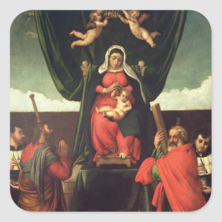 Madonna and Child Enthroned with Four Saints, 1546 Square Sticker