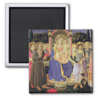 Madonna and Child enthroned with saints (altarpiec 2 Inch Square Magnet