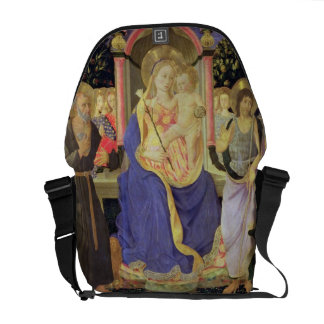 Madonna and Child enthroned with saints (altarpiec Messenger Bag