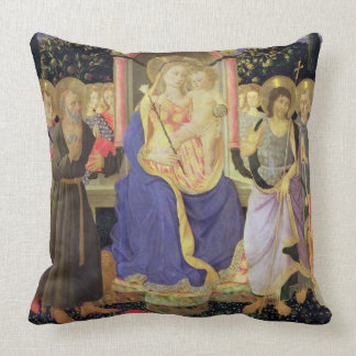 Madonna and Child enthroned with saints (altarpiec Throw Pillow