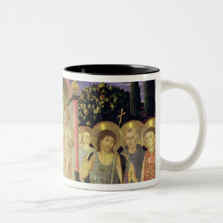 Madonna and Child enthroned with saints (altarpiec Two-Tone Coffee Mug