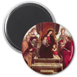 Madonna and Child Enthroned with Saints by Raphael 2 Inch Round Magnet