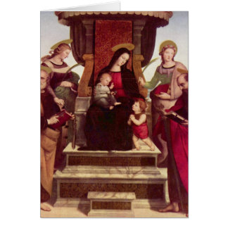Madonna and Child Enthroned with Saints by Raphael Card
