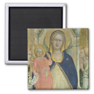 Madonna and Child enthroned with Saints, detail sh 2 Inch Square Magnet