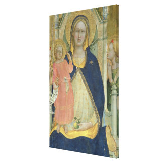 Madonna and Child enthroned with Saints, detail sh Stretched Canvas Print