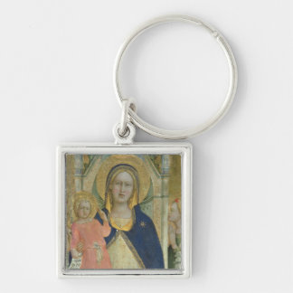 Madonna and Child enthroned with Saints, detail sh Silver-Colored Square Keychain