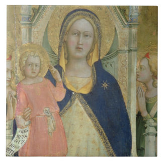 Madonna and Child enthroned with Saints, detail sh Tile