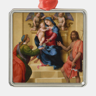 Madonna and Child Enthroned with Saints Mary Metal Ornament