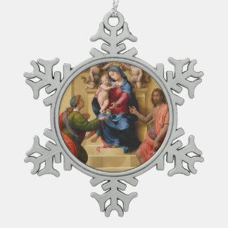 Madonna and Child Enthroned with Saints Mary Snowflake Pewter Christmas Ornament